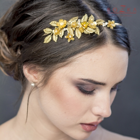 Gold bridal headband with...