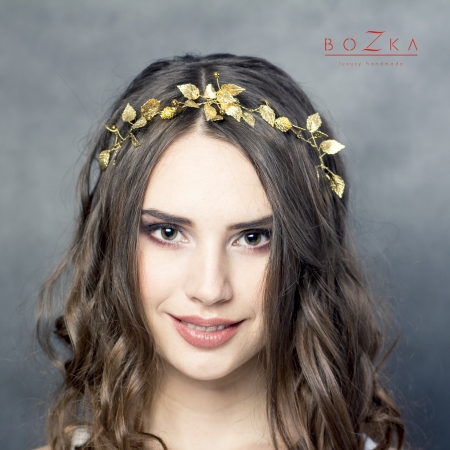 Gold boho hairpiece with...