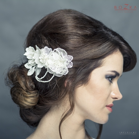 Bridal, lace hairpiece to...
