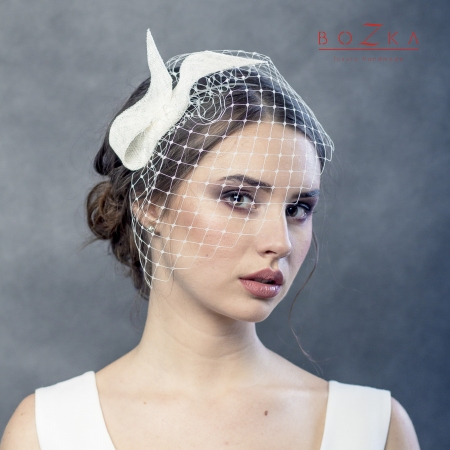 Bridal fascinator with...