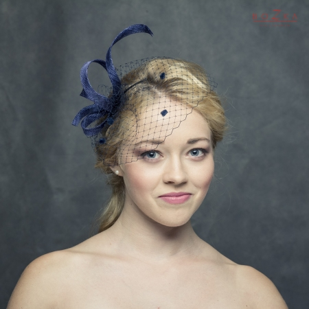 Navy blue fascinator with...