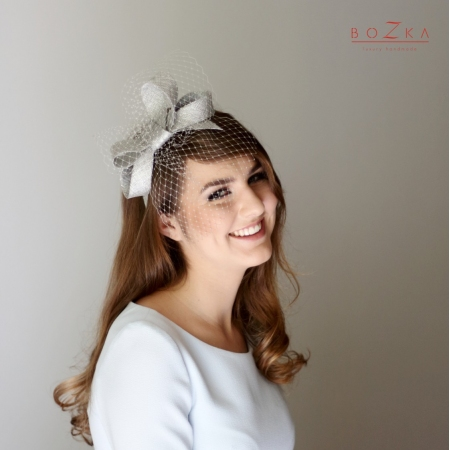 Silver bow with veil