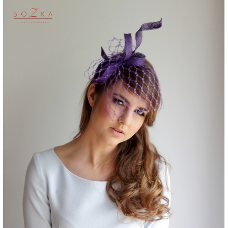 Purple fascinator with veil
