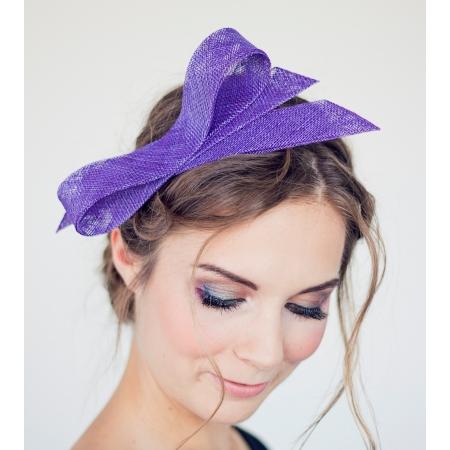 Violet fascinator bow