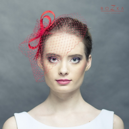 Red fascinator - bow with veil