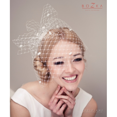 Bridal birdcage veil with...