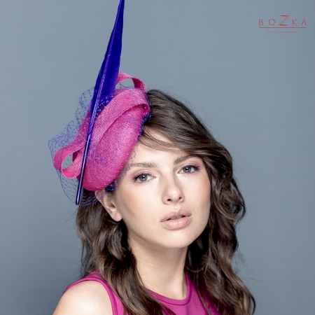 Fuchsia and purple Ascot hat.
