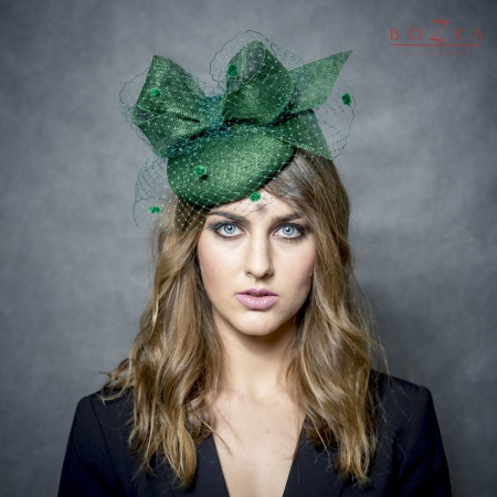 Bottle green coctail hat