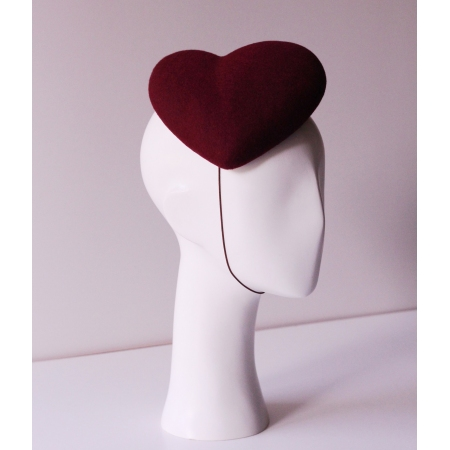 Burgundy heart-shaped hat