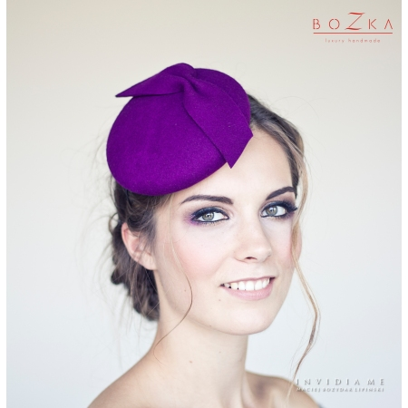 Purple pill box hat with...