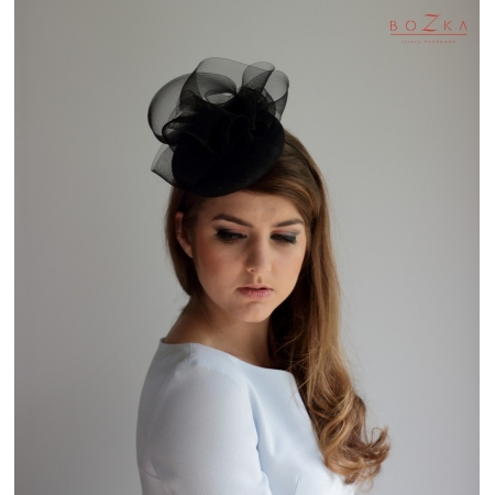 Black coctail hat with...