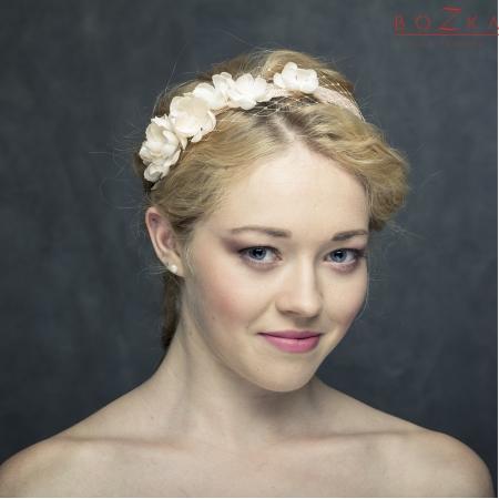 Bridal headband in apricot...