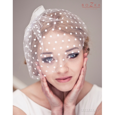 Bridal birdcage veil in dots