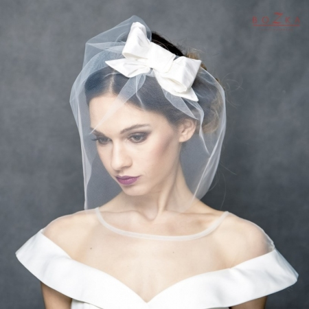Bridal bridcage veil with bow.