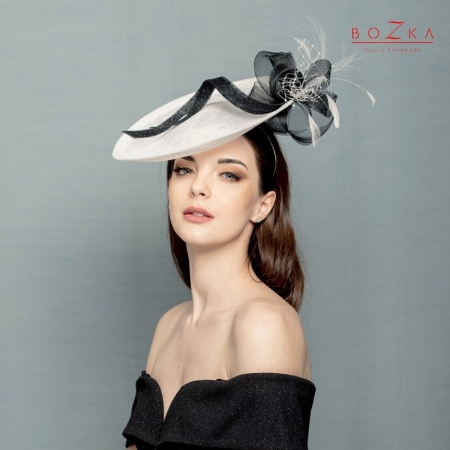Black and white saucer hat.