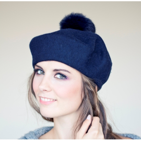 Navy blue, wool beret with...