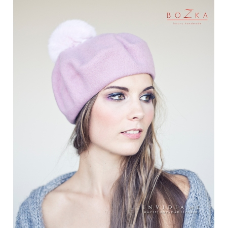Powder pink beret with pompom