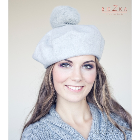 Gray beret with fur pompom
