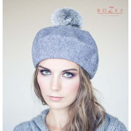 Gray beret with pompom