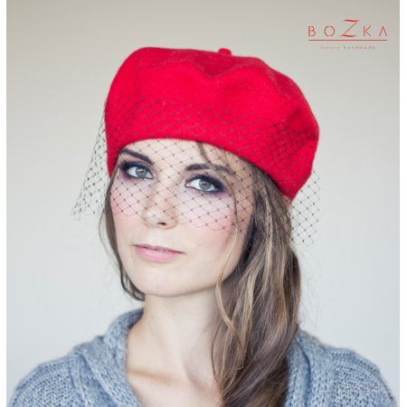Red beret with veil