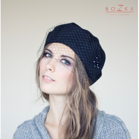 Black beret with veil and...