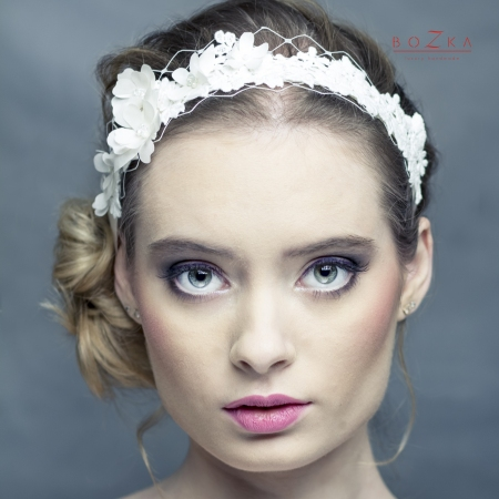 Tied bridal headband with...